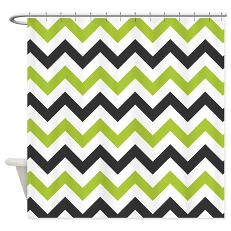 green and black chevron shower curtain by inspirationzstore