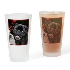 Christmas pug dog Drinking Glass