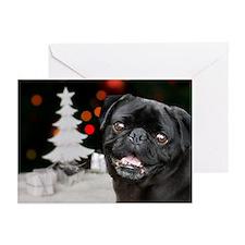 Christmas black pug dog Greeting Cards