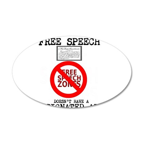 FREE SPEECH DESIGNATED AREA 35x21 Oval Wall Decal