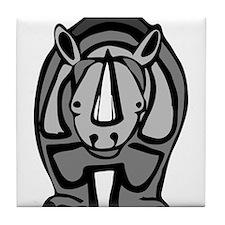 Cartoon Rhinoceros Tile Coaster