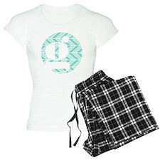 Teal Chevron Monogram-G pajamas