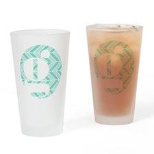 Teal Chevron Monogram-G Drinking Glass