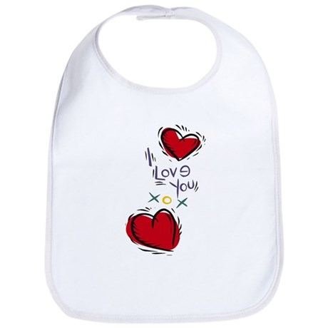 I Love You Hearts Bib