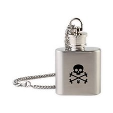 Skull and Cross Fitness Flask Necklace