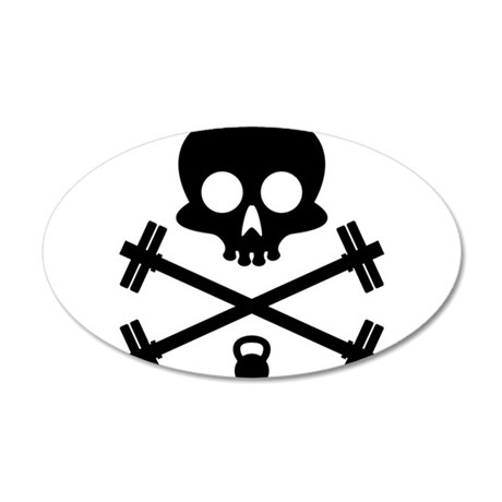 Skull and Cross Fitness 35x21 Oval Wall Decal