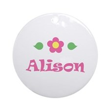 "Pink Daisy - ""Alison"" Ornament (Round)"