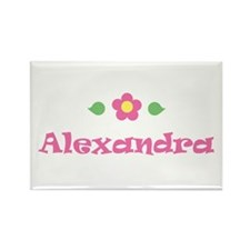 "Pink Daisy - ""Alexandra"" Rectangle Magnet"