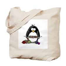 Knitting Penguin Tote Bag