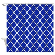 Brilliant Blue Moroccan Lattice Shower Curtain