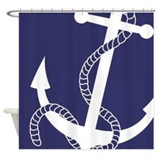 Nautical Big Anchor Navy Shower Curtain