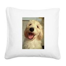 Happy Goldendoodle Square Canvas Pillow