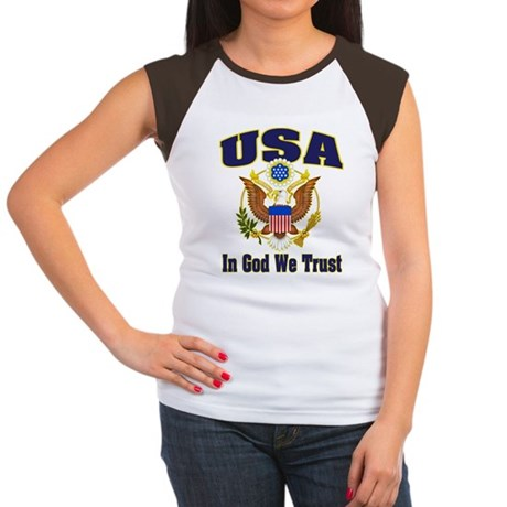 USA - In God We Trust Women's Cap Sleeve T-Shirt