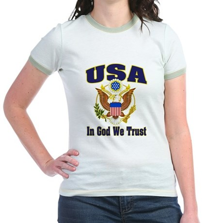 USA - In God We Trust Jr. Ringer T-Shirt