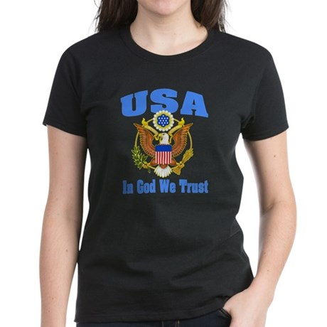 USA - In God We Trust Women's Dark T-Shirt