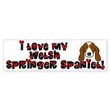 Love Welsh Springer Spaniel Bumper Car Sticker