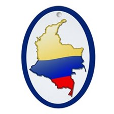 """Colombia Bubble Map"" Oval Ornament"