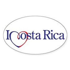 I Heart Costa Rica Oval Decal