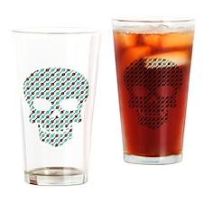 Skull Diagonal Stripes Drinking Glass