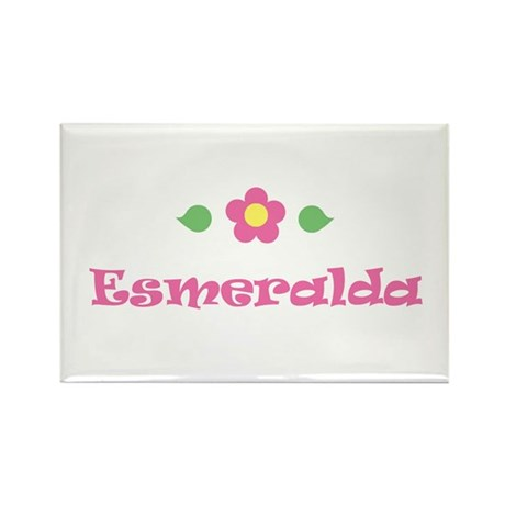 Pink Daisy - &amp;quot;Esmeralda&amp;quot; Rectangle Magnet