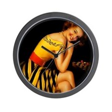 Vintage Pinup Checker Girl Wall Clock