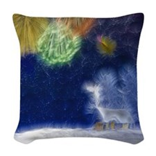 Fractal Winter Landscape Woven Throw Pillow