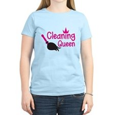 Pink cleaning queen with feather duster T-Shirt
