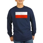 Poland Polish Blank Flag Long Sleeve Blue T-Shirt