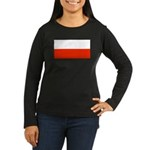 Poland Flag Women's Long Sleeve Brown Shirt