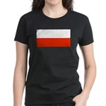 Poland Polish Blank Flag Women's Black T-Shirt