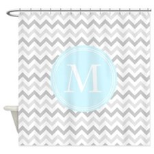 Blue Monogram Grey Chevron Shower Curtain