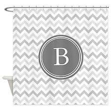 Gray Monogram Chevron Shower Curtain