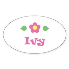 "Pink Daisy - ""Ivy"" Oval Decal"