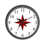 Wall Clock - Compass Rose - Red
