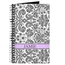 Purple Grey Damask Custom NameJournal
