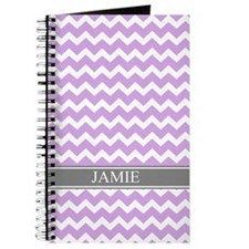 Purple Grey Chevron Custom Name Journal