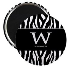 Custom Monogram Black and White Animal Print Magne