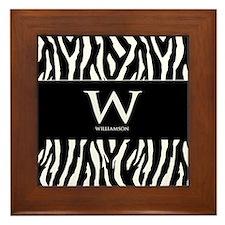 Custom Monogram Black and White Animal Print Frame