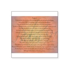 "Psalm 91 Orange Script Square Sticker 3"" x 3"""
