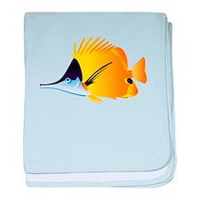 Yellow Longnose Butterflyfish baby blanket