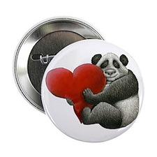"Panda Hugging a Heart 2.25"" Button"