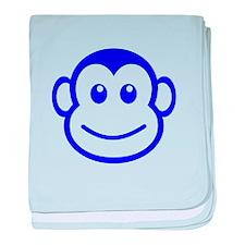 Blue Monkey Face baby blanket
