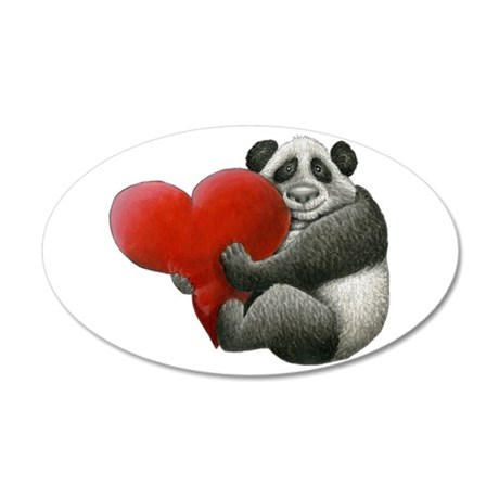 Panda Hugging A Heart 20X12 Oval Wall Decal