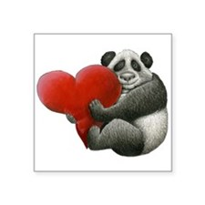 Panda Hugging A Heart Square Sticker 3&Quot; X 3&Q