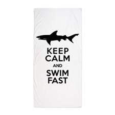 Sharks! Keep Calm and Swim Fast Beach Towel