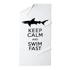 Sharks! Keep Calm and Swim Fast Beach Towel
