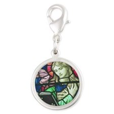 Stained Glass Mary Silver Round Charm
