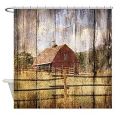 farm red barn Shower Curtain