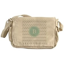 Mint Grey Chevron Messenger Bag