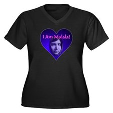 I Am Malala Women's Plus Size V-Neck Dark T-Shirt